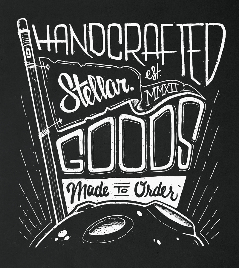 Handcrafted Stellar Goods, Made to Order: Final, vectorized graphic.